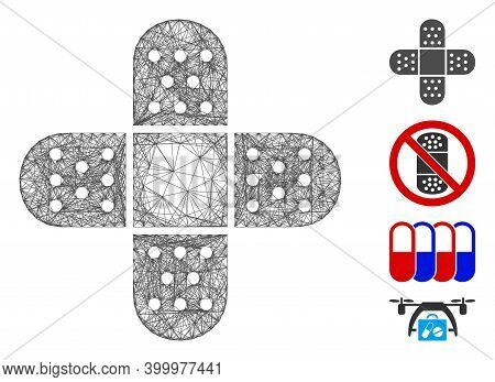 Vector Wire Frame Adhesive Patch. Geometric Hatched Frame 2d Network Generated With Adhesive Patch I