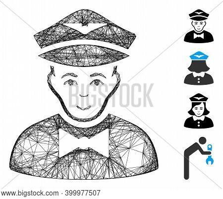 Vector Wire Frame Airline Steward. Geometric Wire Frame Flat Net Based On Airline Steward Icon, Desi