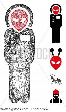 Vector Net Alien Visitor Space Suit. Geometric Hatched Frame 2d Net Made From Alien Visitor Space Su