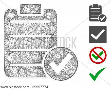 Vector Network Approve Test. Geometric Hatched Carcass Flat Network Made From Approve Test Icon, Des