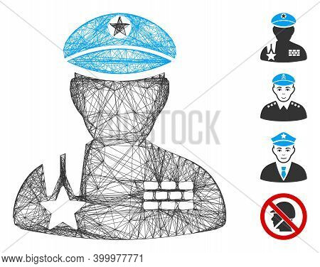 Vector Wire Frame Army General. Geometric Wire Frame Flat Net Generated With Army General Icon, Desi