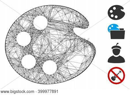 Vector Wire Frame Artistic Palette. Geometric Wire Frame Flat Network Based On Artistic Palette Icon