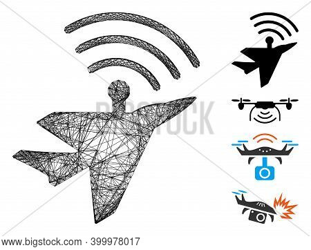 Vector Net Awacs Aircraft. Geometric Hatched Frame 2d Net Generated With Awacs Aircraft Icon, Design