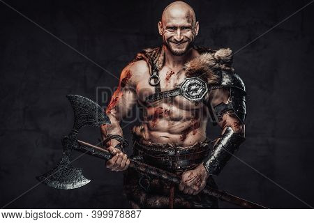Positive Portrait Of A Happy And Powerful Barbarian With Bloody And Grimy Skin In Light Armour In Da