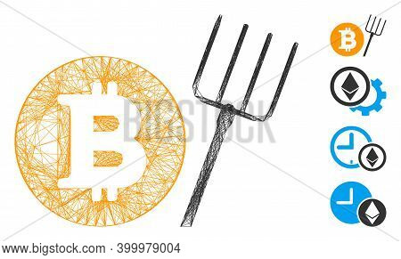 Vector Net Bitcoin Pitchfork. Geometric Wire Carcass 2d Net Generated With Bitcoin Pitchfork Icon, D