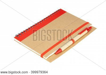 Set Of Recycle Paper Notebook And Pen. Diary Notebook, Isolated On White