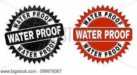 Black Rosette Water Proof Seal Stamp. Flat Vector Distress Seal Stamp With Water Proof Title Inside