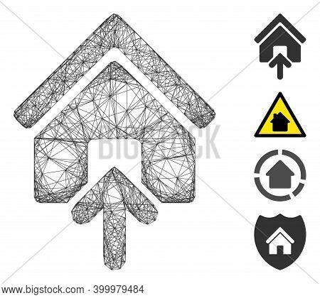 Vector Net Building Entrance. Geometric Linear Carcass Flat Net Made From Building Entrance Icon, De