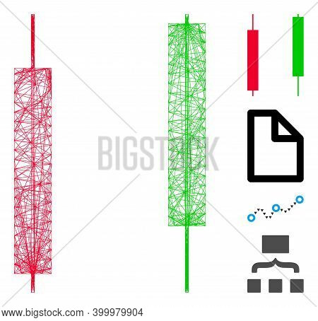 Vector Wire Frame Candlesticks. Geometric Wire Frame 2d Net Based On Candlesticks Icon, Designed Wit