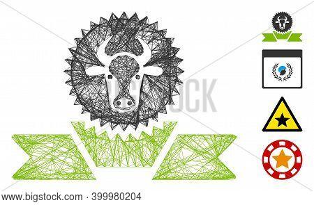 Vector Network Cattle Award Ribbon. Geometric Wire Frame Flat Network Made From Cattle Award Ribbon
