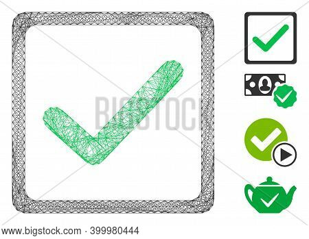 Vector Net Checkbox. Geometric Linear Frame 2d Net Generated With Checkbox Icon, Designed With Cross