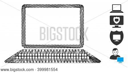 Vector Wire Frame Computer. Geometric Hatched Frame Flat Net Generated With Computer Icon, Designed