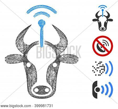 Vector Wire Frame Cow Radio Transmitter. Geometric Wire Carcass 2d Network Generated With Cow Radio