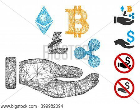 Vector Network Cryptocurrency Investment Hand. Geometric Wire Carcass Flat Network Generated With Cr