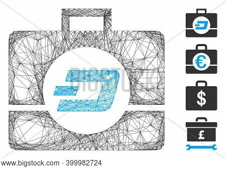 Vector Net Dash Business Case. Geometric Linear Frame 2d Net Made From Dash Business Case Icon, Desi