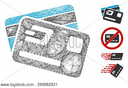 Vector Wire Frame Dash Credit Cards. Geometric Hatched Frame 2d Net Generated With Dash Credit Cards