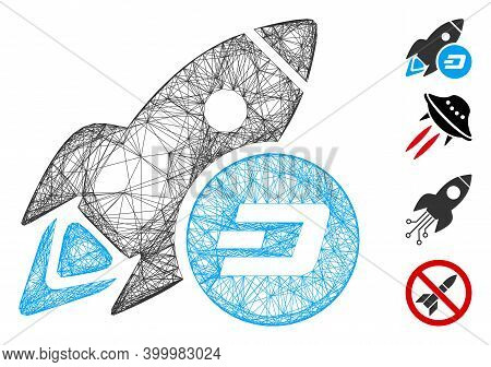Vector Network Dash Rocket. Geometric Wire Frame 2d Network Made From Dash Rocket Icon, Designed Fro