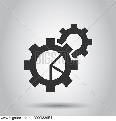 Workflow Chart Icon In Flat Style. Gear With Diagram Vector Illustration On White Isolated Backgroun