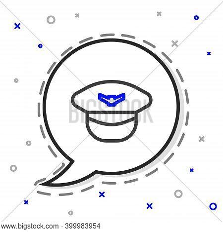 Line Pilot Hat Icon Isolated On White Background. Colorful Outline Concept. Vector Illustration