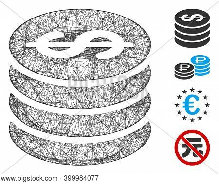 Vector Wire Frame Dollar Coin Column. Geometric Wire Frame 2d Net Based On Dollar Coin Column Icon,