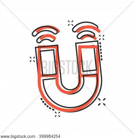 Magnet Icon In Comic Style. Attract Cartoon Vector Illustration On White Isolated Background. Electr