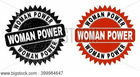 Black Rosette Woman Power Stamp. Flat Vector Distress Seal Stamp With Woman Power Title Inside Sharp
