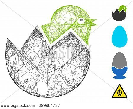 Vector Net Egg Chick. Geometric Wire Carcass 2d Net Made From Egg Chick Icon, Designed From Intersec