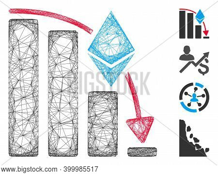 Vector Net Ethereum Falling Acceleration Chart. Geometric Hatched Carcass 2d Net Generated With Ethe