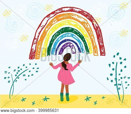 Little African American Toddler Girl Is Drawing Rainbow. Kid Painting Rainbow On The Sky. Hand Drawn