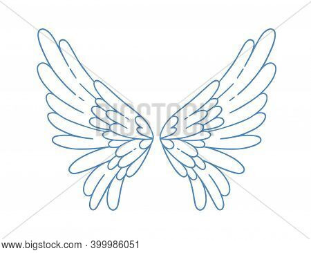 Beautiful Angel Or Bird Wings Vector Illustration In Monochrome Outline Style. Pair Of Cute Wing Wit