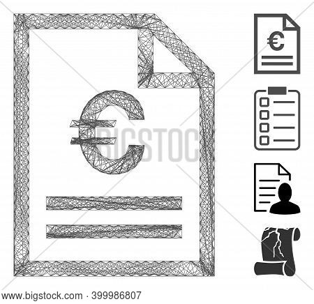 Vector Wire Frame Euro Invoice Page. Geometric Wire Frame Flat Network Generated With Euro Invoice P
