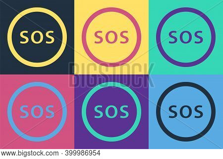 Pop Art Location With Sos Icon Isolated On Color Background. Sos Call Marker. Map Pointer Sign. Vect