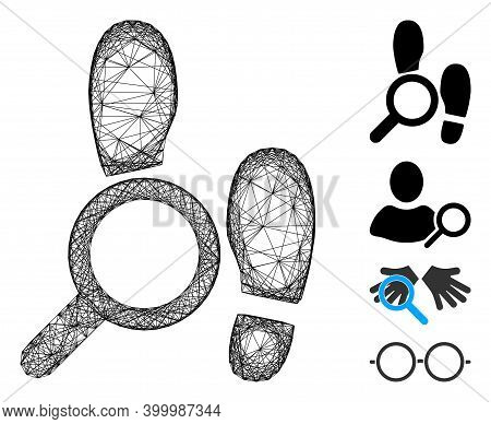 Vector Wire Frame Explore Footprints. Geometric Hatched Frame 2d Net Generated With Explore Footprin