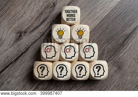 Cubes, Dice Or Blocks And Dice With Teamwork And Together Works Better On Wooden Background