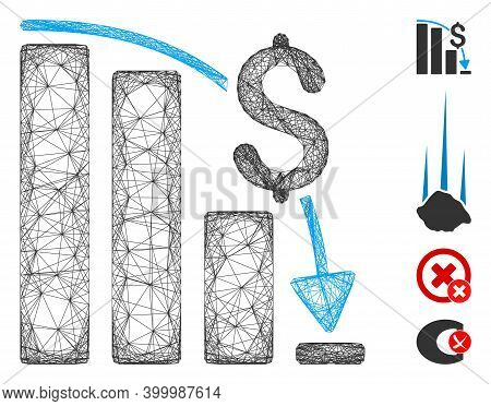 Vector Net Financial Epic Fail. Geometric Linear Frame Flat Net Generated With Financial Epic Fail I