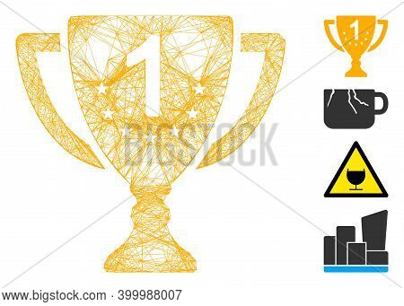 Vector Wire Frame First Place Goblet. Geometric Wire Frame Flat Net Made From First Place Goblet Ico