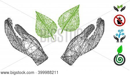 Vector Wire Frame Flora Care Hands. Geometric Hatched Frame Flat Network Based On Flora Care Hands I