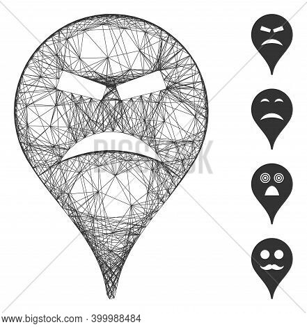 Vector Wire Frame Furious Smiley Map Marker. Geometric Hatched Frame 2d Network Made From Furious Sm