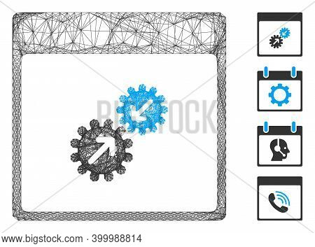 Vector Wire Frame Gears Integration Calendar Page. Geometric Wire Frame 2d Network Generated With Ge