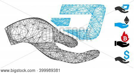 Vector Wire Frame Hand Offer Dash. Geometric Wire Frame Flat Network Made From Hand Offer Dash Icon,
