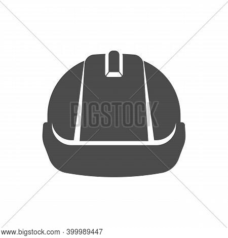 Safety Construction Helmet Icon. Front View Construction Helmet Sign Vector Illustration.