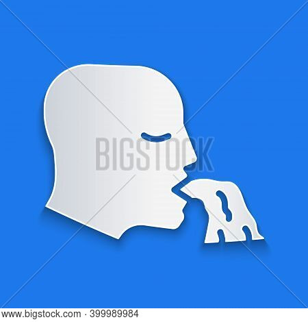 Paper Cut Vomiting Man Icon Isolated On Blue Background. Symptom Of Disease, Problem With Health. Na