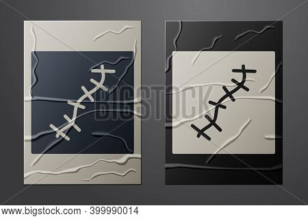 White Scar With Suture Icon Isolated On Crumpled Paper Background. Paper Art Style. Vector