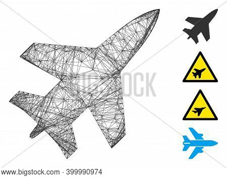 Vector Wire Frame Jet Fighter. Geometric Wire Frame Flat Net Generated With Jet Fighter Icon, Design