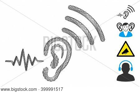 Vector Wire Frame Listen And Transmit. Geometric Wire Frame Flat Net Based On Listen And Transmit Ic