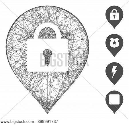 Vector Wire Frame Locker Marker. Geometric Wire Frame Flat Network Made From Locker Marker Icon, Des