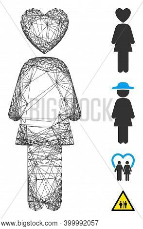 Vector Wire Frame Lover Woman. Geometric Wire Frame 2d Net Based On Lover Woman Icon, Designed With