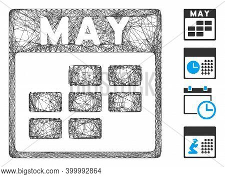 Vector Network May Calendar Grid. Geometric Wire Carcass 2d Network Generated With May Calendar Grid