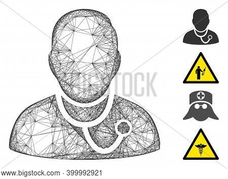 Vector Network Medic. Geometric Wire Carcass Flat Network Generated With Medic Icon, Designed With C