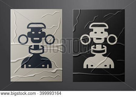 White African Tribe Male Icon Isolated On Crumpled Paper Background. Paper Art Style. Vector